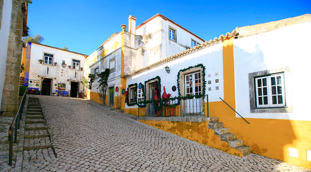 Obidos castle walls and town square